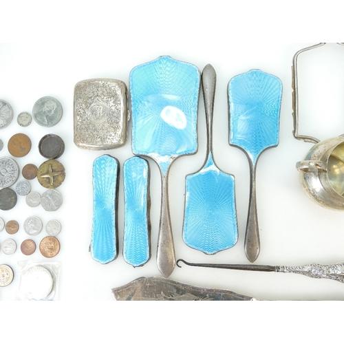 885 - Silver & silver coloured metal jewellery & items including cigarette case, sugar bowl and scrap silv...