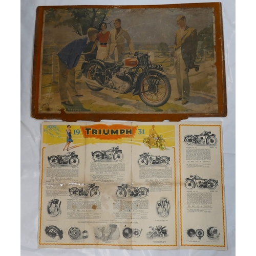 886 - 1939 Ariel Square Four motorcycle advertising poster (damaged) mounted on board together with 1931 T...