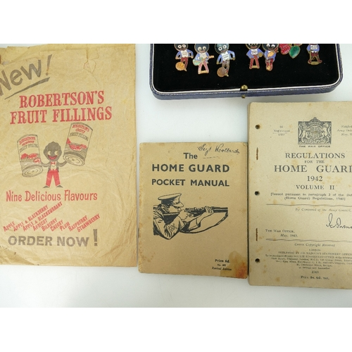 887 - Collection of Robertson's fruit fillings collectable's including enamel badges by Fattorini & sons, ...