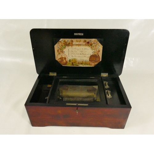 892 - Musical Box playing 4 tunes / airs in stained wooden case measuring 35.5 cm wide.  In playing order,...