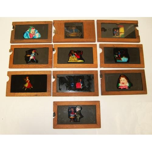 894 - Ten mahogany framed mechanical slides - various fantasy subjects....