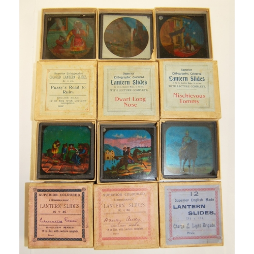 896 - Six boxed sets of lithographic Magic Lantern slides, each containing 12 slides, 3.25cm x 3.25cm. The...