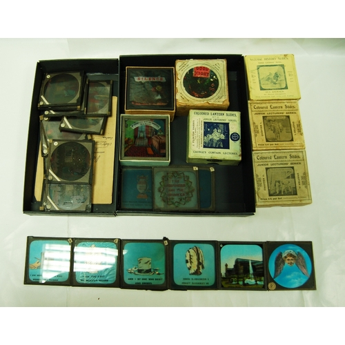 898 - Magic lantern slides x 5 boxes of various coloured slides, British Army x 2, Sea Animals, Animals an...