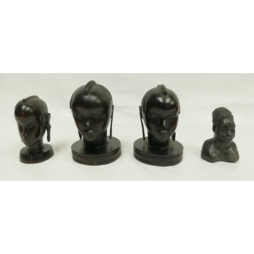 911 - Early 20th Century South African Carved Heavy wood tribal heads together with similar pottery item (...