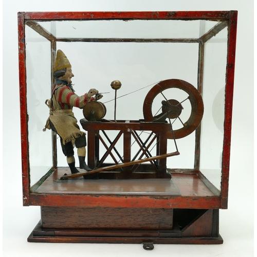 915 - 19th century Lever-Operated Automaton wood automaton figure of the scissor sharpener, in wood displa...