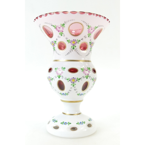 918 - Bohemian Pink and White overlay faceted and hand painted glass vase 22cm...