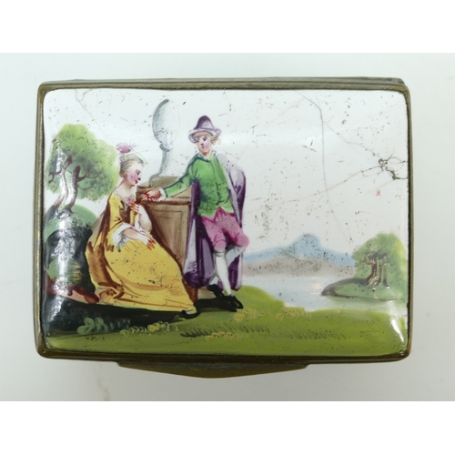 921 - 18th century Bilston enamel pill box decorated with a courting couple in a garden, length 6.5 x 5cm ...