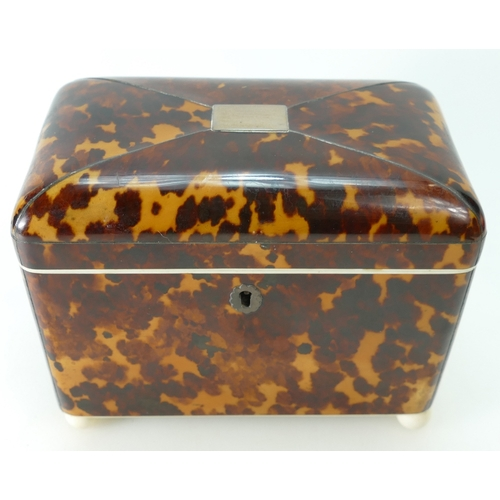 926 - Regency tortoiseshell tea caddy, original interior with velvet lining to the lid, ivory trim and the...
