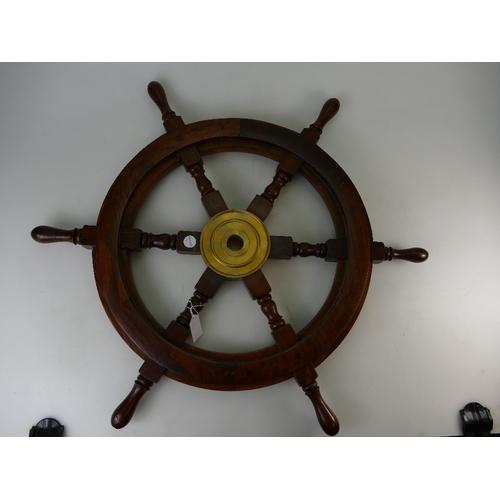 930 - Mahogany and Brass Ships Wheel, diameter 63cm...