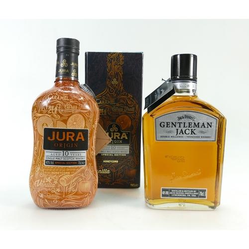945 - Jack Daniels Gentleman Jack Mellow Tennessee Whiskey and Jura Origin Single Malt Scotch Whiskey (2)...