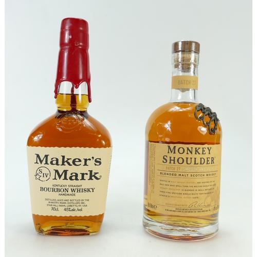 946 - Monkey Shoulder Batch 27 blended malt Whisky and Makers Mark Kentucky Bourbon Whiskey (2)...