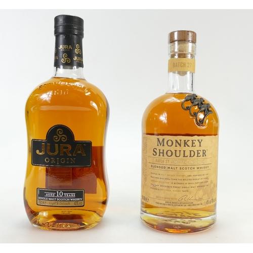 947 - Monkey Shoulder Batch 27 blended malt Whisky Jura Origin 10 year old malt Whisky (2)...
