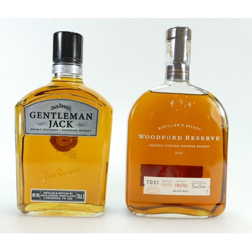 951 - Woodford Reserve Kentucky Bourbon Whiskey and Jack Daniel's Double Mellowed Tennessee Whiskey (2)...