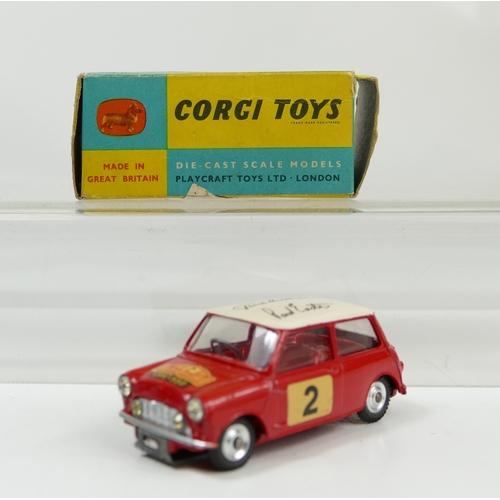 984 - Corgi 321 Monte Carlo B.M.C. autographed Mini Cooper 'S'. Car grade mint with original box grade goo...