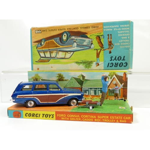 986 - Corgi 440 Blue Ford Consul Cortina Super Estate Car mint condition and in original display box with ...