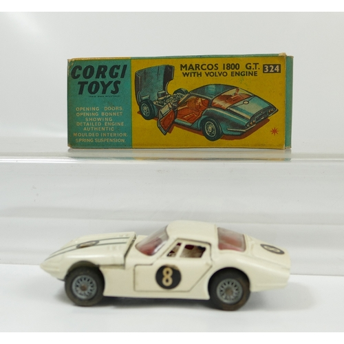 991 - Corgi 324 White Marcos 1800GT with Volvo engine. Near mint condition though bonnet sits fractionally...