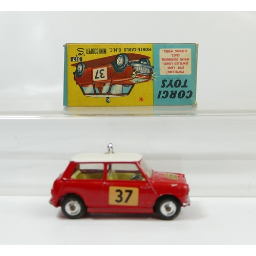 996 - Corgi 317 Red with Pink Hood Monte Carlo Mini Cooper in excellent to near mint condition (tiny paint...