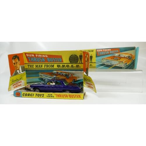 1001 - Corgi 497 Dark Blue Gun Firing Thrush Buster in mint condition. Full working order and in original f...