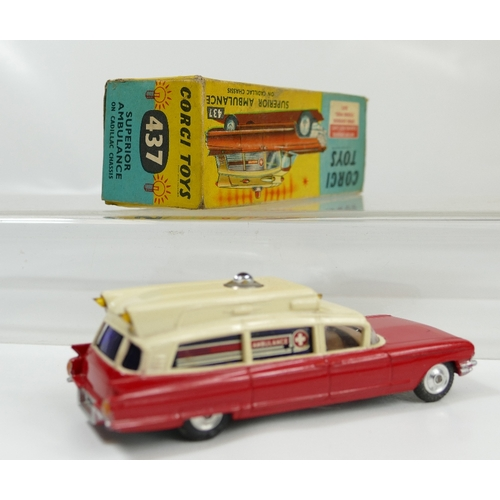 1008 - Corgi 437 Red and White Superior Ambulance in excellent to near mint condition and in original fair ...