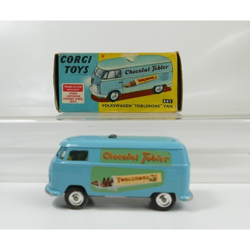 1009 - Corgi 441 Light Blue Toblerone Van in excellent to near mint condition, and in original good+ box....