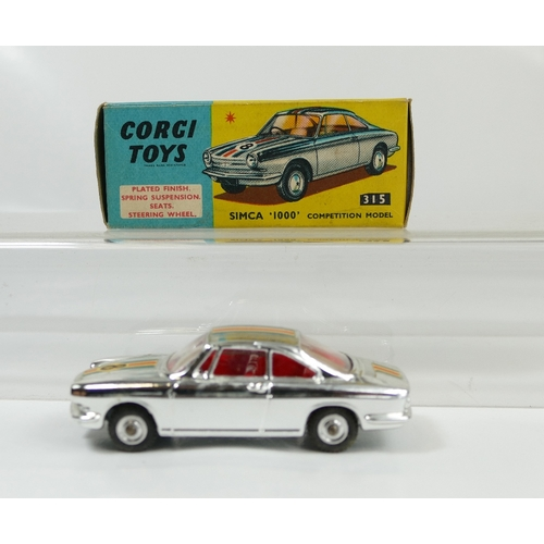 1012 - Corgi 315 Simca 1000 in near mint to mint condition and in good to excellent original box....