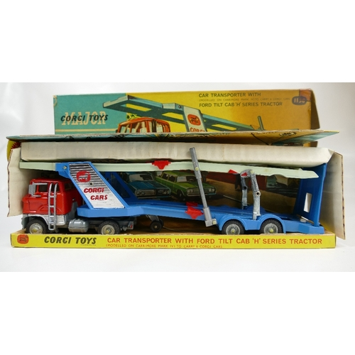 1018 - Corgi 1138 Car Transporter Ford Tilt Cab H Series Tractor in near mint condition and in fair to good...