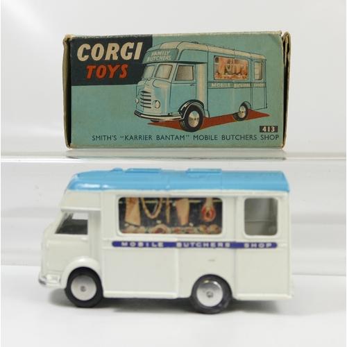 1020 - Corgi 413 White Mobile Butchers Shop in near mint condition and in original box in good condition....