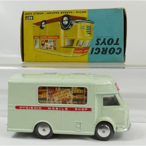 1025 - Corgi 407 Smiths 'Carrier Bantam' Cream Coloured Mobile Shop in near mint condition and in original ...