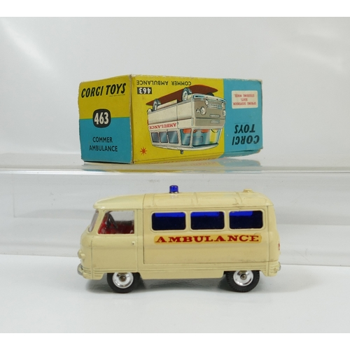 1035 - Corgi 463 Cream Commer Ambulance in near mint condition and about good condition original box....