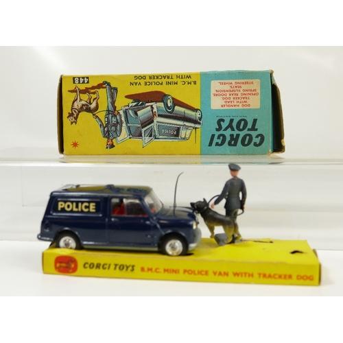 1036 - Corgi 448 Dark Blue Mini Police Van with Tracker Dog in near mint condition and in original box, whi...