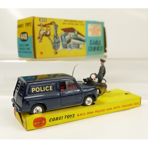 1036 - Corgi 448 Dark Blue Mini Police Van with Tracker Dog in near mint condition and in original box, whi...