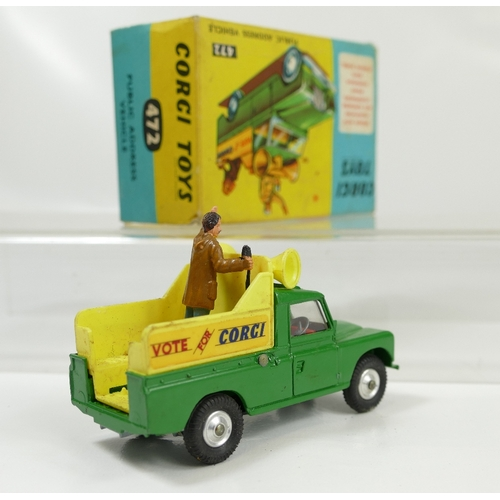 1038 - Corgi 472 Green Public Address Vehicle in near mint to mint condition and in original good to excell...