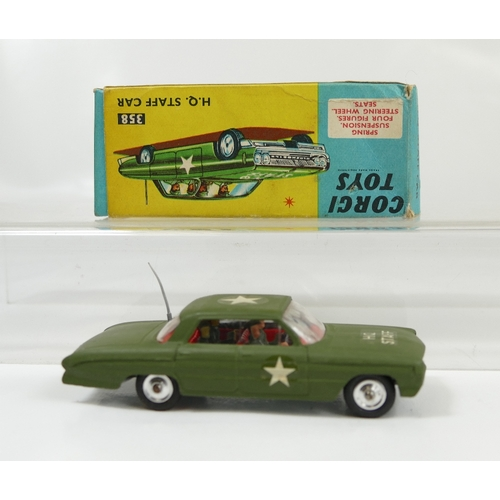 1041 - Corgi 358 Green Army HQ Staff car in near mint condition and in good condition original box....