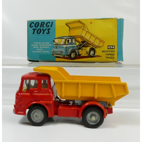 1043 - Corgi 494 Red Bedford Tipper Truck in near mint condition and in original fair to good  condition bo...