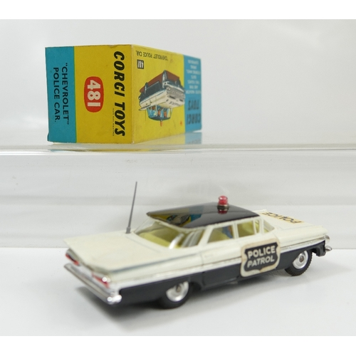 1044 - Corgi 484 White Chevrolet Police Car in near mint to mint condition.  In original excellent conditio...