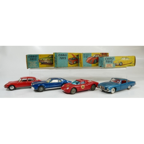 1047 - Corgi 210S Red Citroen DS19 in excellent or near mint condition in fair condition box (end flap miss...