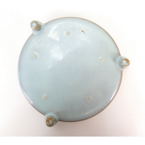 1054 - Chinese circular green glazed brush pot / palette.  14cm x 3.5cm high....