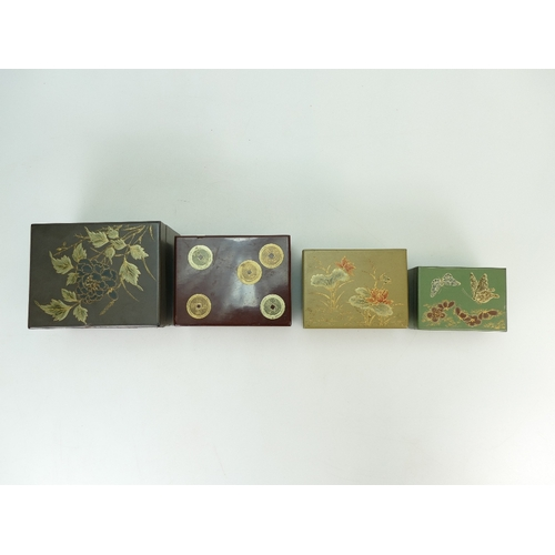 1059 - JAPANESE Lacquered set of five boxes.  12cm x 9.5cm x 8cm high.  Minor damage to rear and side of la...