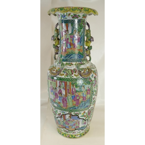 1062 - 19th century large Chinese Cantonese Clobber ware two handled vase decorated with coloured floral sc...