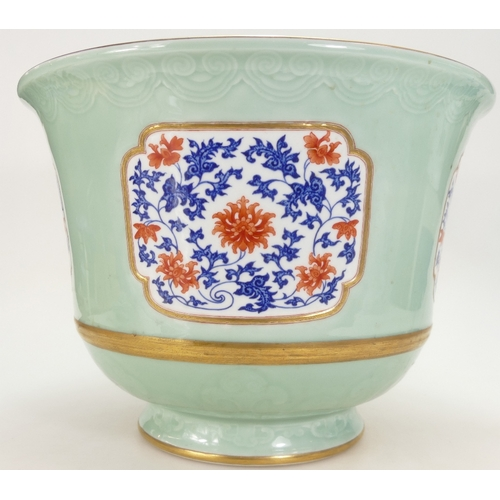 1068 - 20th century large Chinese Republic Jardiniere, decorated in a Celadon glaze with panels of flowers ...