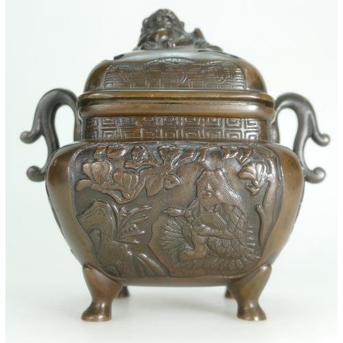 1071 - 19th century Japanese bronze handled incense / Koro burner decorated with Peasants & Dogs of Foe / F...