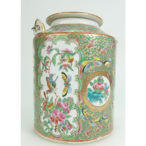 1075 - 19th century Chinese Tea Kettle decorated with Famille-rose decoration, height 17cm....