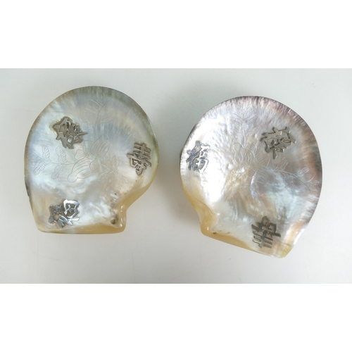 1081 - Pair of Chinese river polished Abalone shells incised floral decoration and Chinese silver symbols t...