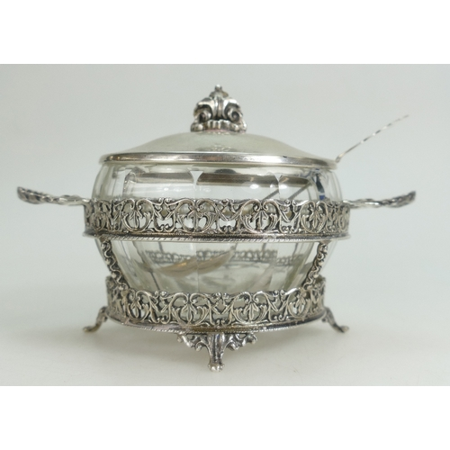 1085 - Chinese silver cut sugar bowl & cover, marked .900 to base, d 16cm, h 9cm....