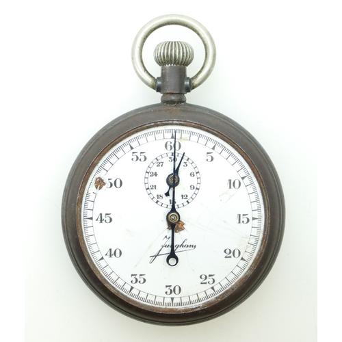 1096 - Original German WWII Kriegsmarine stopwatch by Junghans in metal case. Dial A/F often used by German...