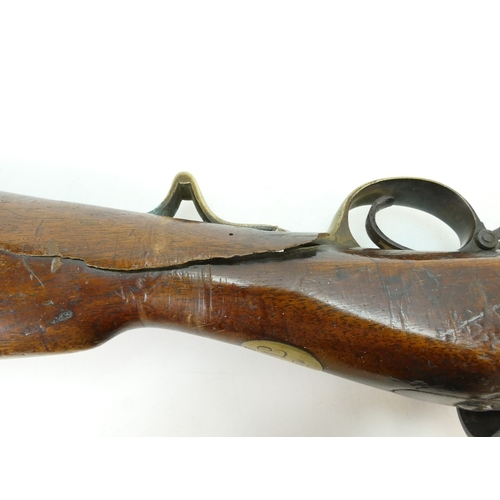 1100 - A scarce 14 bore 2 groove Brunswick percussion rifle made by Malherbe of Liege, and issued to Russia...