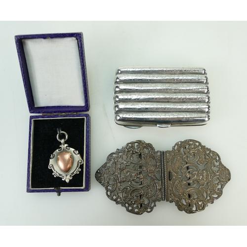 1130 - Large hallmarked silver NURSES BUCKLE, CHEROOT CASE & FOB. Gross weight 152.4g....