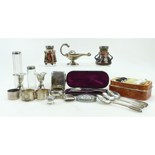 1133 - HALLMARKED SILVER - collection of items, 525g of weighable silver including spoons, cased spoons .80...