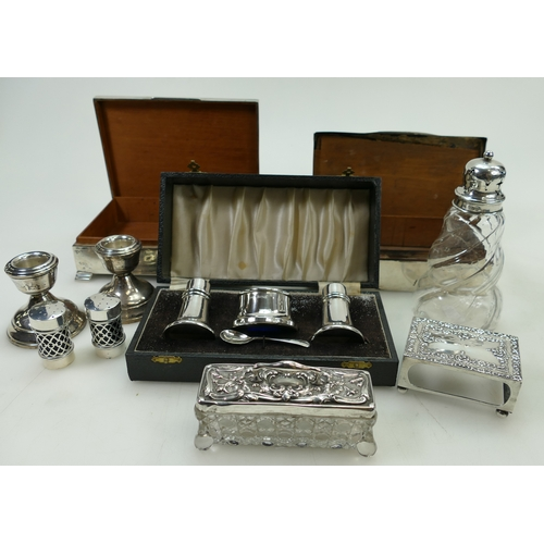 1180 - Silver Cigarette box and another similar, pair Silver candlesticks, boxed silver cruet, silver toppe...