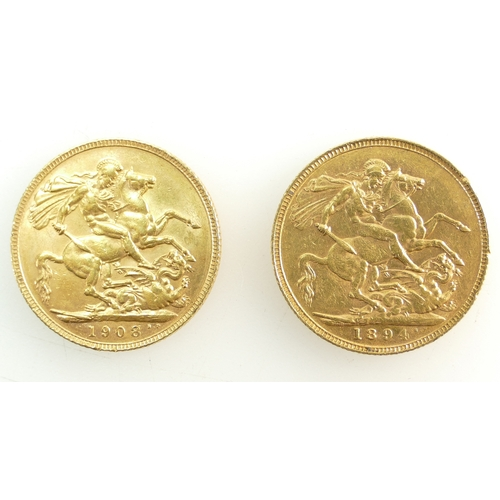1200 - Two Full Gold Sovereign coins, 1894 & 1908. (2)...